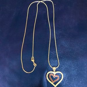.925 Silver Necklace with Created Ruby Heart